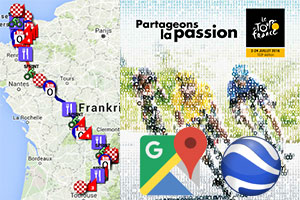 The Tour de France 2016 race route on Google Maps/Google Earth, profiles and time- and route schedules
