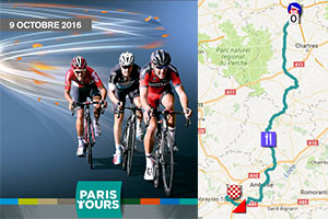 The Paris-Tours 2016 race route on Google Maps/Google Earth