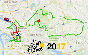 The race route of the first stages of the Tour de France 2017 on Google Maps