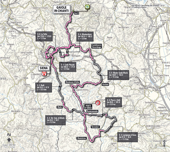 Carte parcours Strade Bianche 2013