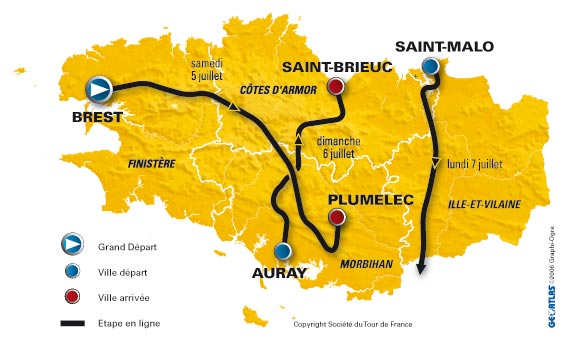 The stages in Brittany - © Société du Tour de France
