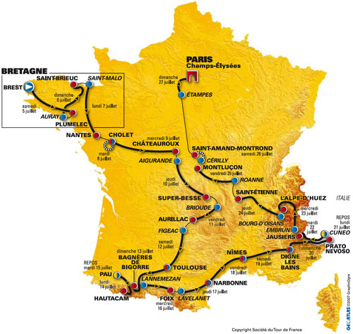 Map of the Tour de France 2008 stages