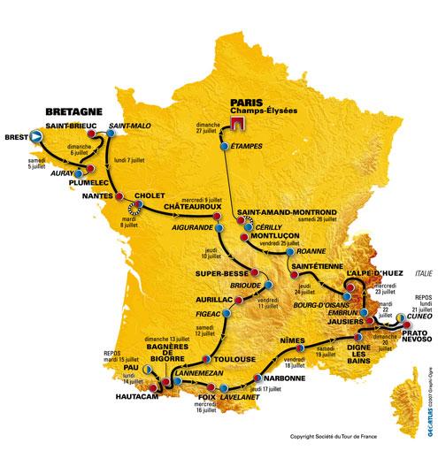 de kaart van de Tour de France zonder het kader rondom Bretagne