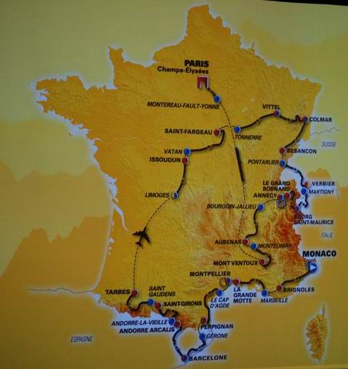 The map with the stage of the 2009 Tour de France