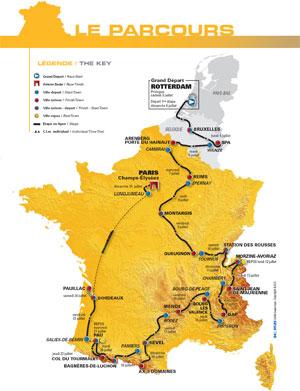 The map of the Tour de France 2010 route