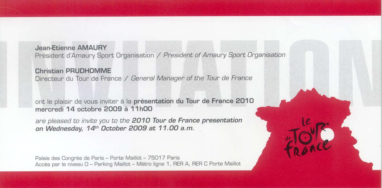 L'invitation à la présentation du Tour de France 2010