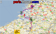 The route map of the first stage of the 2010 Tour de France on Google Maps
