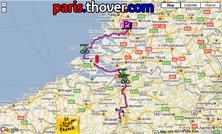 La carte du parcours de la première étape du Tour de France 2010 sur Google Maps
