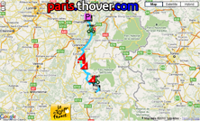 La carte du parcours de la dixième étape du Tour de France 2010 sur Google Maps