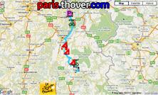 Het parcours van de tiende etappe van de Tour de France 2010 op Google Maps