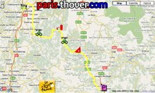 The route map of the eleventh stage of the 2010 Tour de France on Google Maps