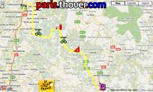 Het parcours van de elfde etappe van de Tour de France 2010 op Google Maps
