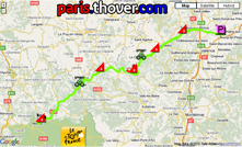 The route map of the twelfth stage of the 2010 Tour de France on Google Maps