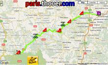 Het parcours van de twaalfde etappe van de Tour de France 2010 op Google Maps