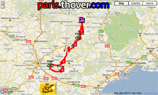 The route map of the thirteenth stage of the 2010 Tour de France on Google Maps