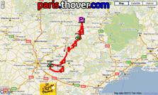La carte du parcours de la treizième étape du Tour de France 2010 sur Google Maps