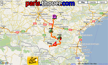 Het parcours van de veertiende etappe van de Tour de France 2010 op Google Maps