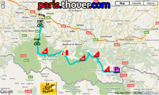 The route map of the sixteenth stage of the 2010 Tour de France on Google Maps