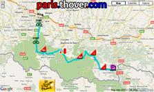 Het parcours van de zestiende etappe van de Tour de France 2010 op Google Maps