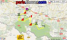 Het parcours van de zeventiende etappe van de Tour de France 2010 op Google Maps
