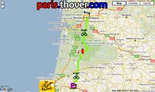 Het parcours van de achtiende etappe van de Tour de France 2010 op Google Maps