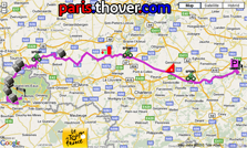 The route map of the third stage of the 2010 Tour de France on Google Maps