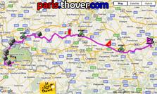 Het parcours van de derde etappe van de Tour de France 2010 op Google Maps