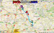 The route map of the fourth stage of the 2010 Tour de France on Google Maps