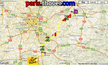 Het parcours van de zesde etappe van de Tour de France 2010 op Google Maps