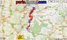 Het parcours van de negende etappe van de Tour de France 2010 op Google Maps