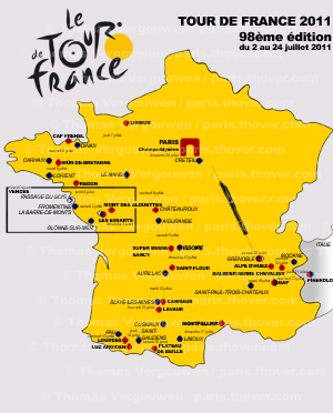 The preliminary map of the 2011 Tour de France route - © Thomas Vergouwen / www.velowire.com