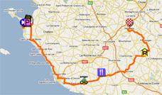 The map with the race route of the first stage of the Tour de France 2011 op Google Maps