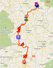The map with the race route of the tenth stage of the Tour de France 2011 op Google Maps
