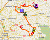 The map with the race route of the eleventh stage of the Tour de France 2011 op Google Maps