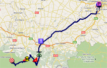 The map with the race route of the twelfth stage of the Tour de France 2011 op Google Maps