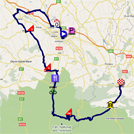 The map with the race route of the thirteenth stage of the Tour de France 2011 op Google Maps