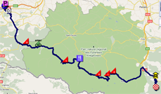The map with the race route of the fourteenth stage of the Tour de France 2011 op Google Maps