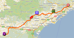 The map with the race route of the fifteenth stage of the Tour de France 2011 op Google Maps