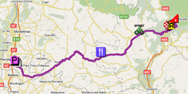 The map with the race route of the sixteenth stage of the Tour de France 2011 op Google Maps