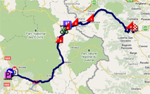 The map with the race route of the seventeenth stage of the Tour de France 2011 op Google Maps