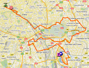 The map with the race route of the 21st stage of the Tour de France 2011 op Google Maps