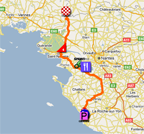 The map with the race route of the third stage of the Tour de France 2011 op Google Maps