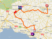 The map with the race route of the fourth stage of the Tour de France 2011 op Google Maps