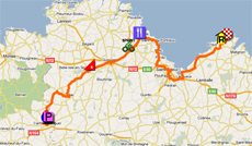 The map with the race route of the fifth stage of the Tour de France 2011 op Google Maps