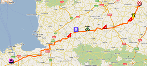 The map with the race route of the sixth stage of the Tour de France 2011 op Google Maps