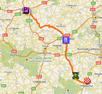 The map with the race route of the seventh stage of the Tour de France 2011 op Google Maps