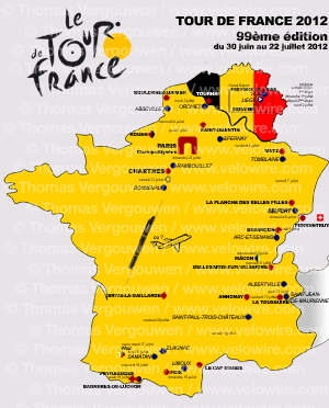 The provisional map of the Tour de France 2012 parcours - � Thomas Vergouwen / www.velowire.com