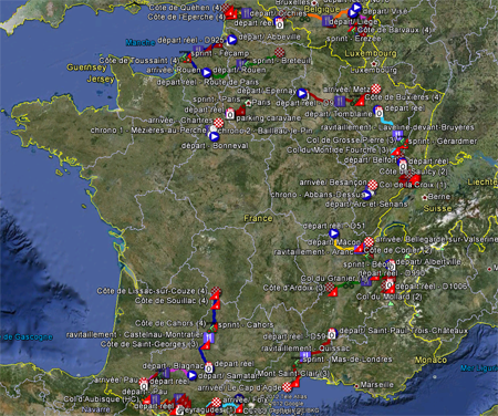 The race route of the Tour de France 2012 in Google Earth