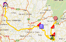 The map with the race route of the tenth stage of the Tour de France 2012 on Google Maps