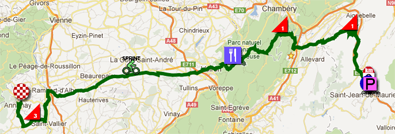 The map with the race route of the twelfth stage of the Tour de France 2012 on Google Maps